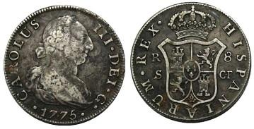 8 Reales 1775, Sevilla, Carlos III