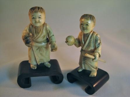 Pareja figuras japonesas de Marfil, siglo XIX